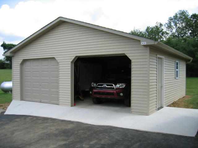Amish built 2 car garage